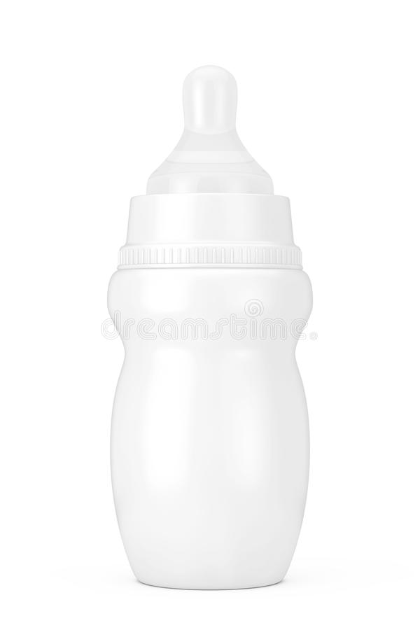 Empty Blank Baby Milk Bottle with Pacifier in Clay Style Mock Up. 3d Rendering. Empty Blank Baby Milk Bottle with Pacifier in Clay Style Mock Up on a white royalty free illustration