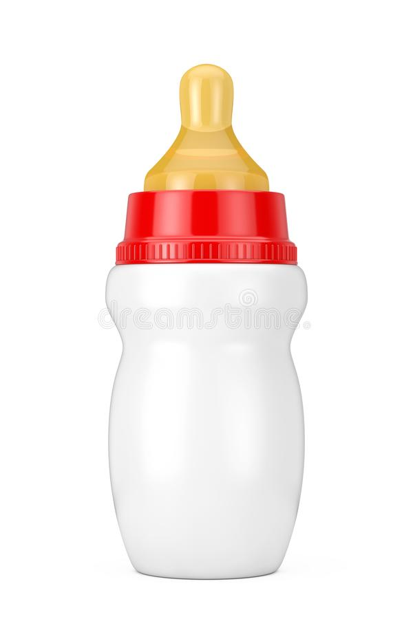 Empty Blank Baby Milk Bottle with Pacifier Mock Up. 3d Rendering. Empty Blank Baby Milk Bottle with Pacifier Mock Up on a white background. 3d Rendering vector illustration