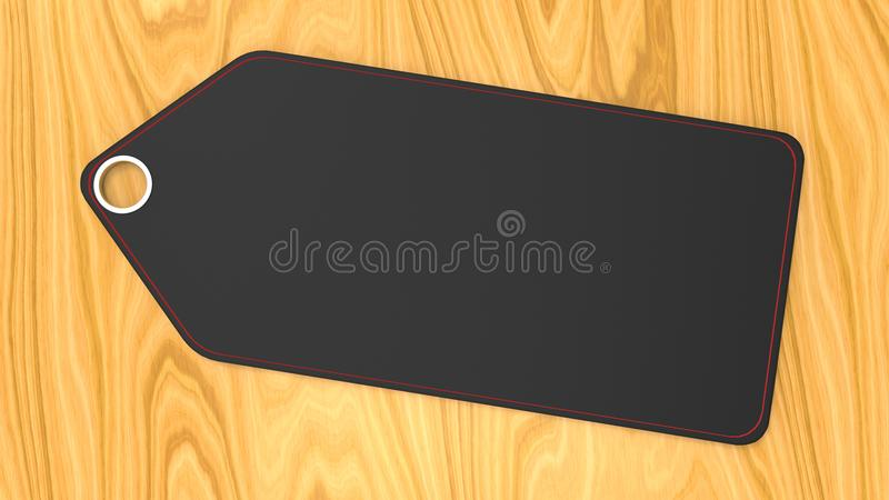 Empty blank black label price tag on wooden background stock illustration