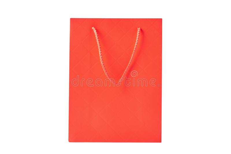 empty blank craft paper shopping bag isolated on white background. Packaging template mockup stock photography