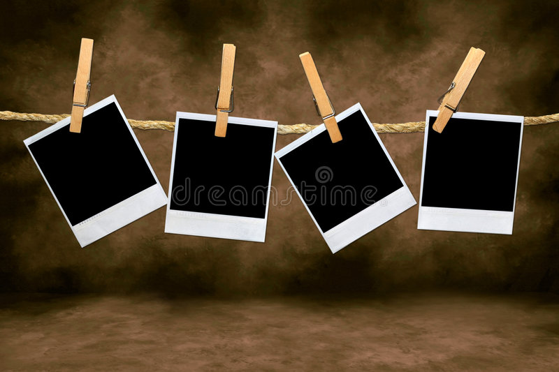 Download Empty Blank Film Frames Hanging From A Rope Stock Photo - Image: 8803722