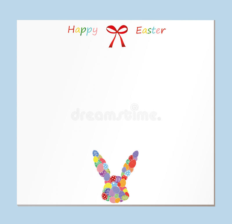 Empty blank for messages or greetings for Easter. Eggs with a pattern in the form of a bunny. Card for the holiday royalty free illustration
