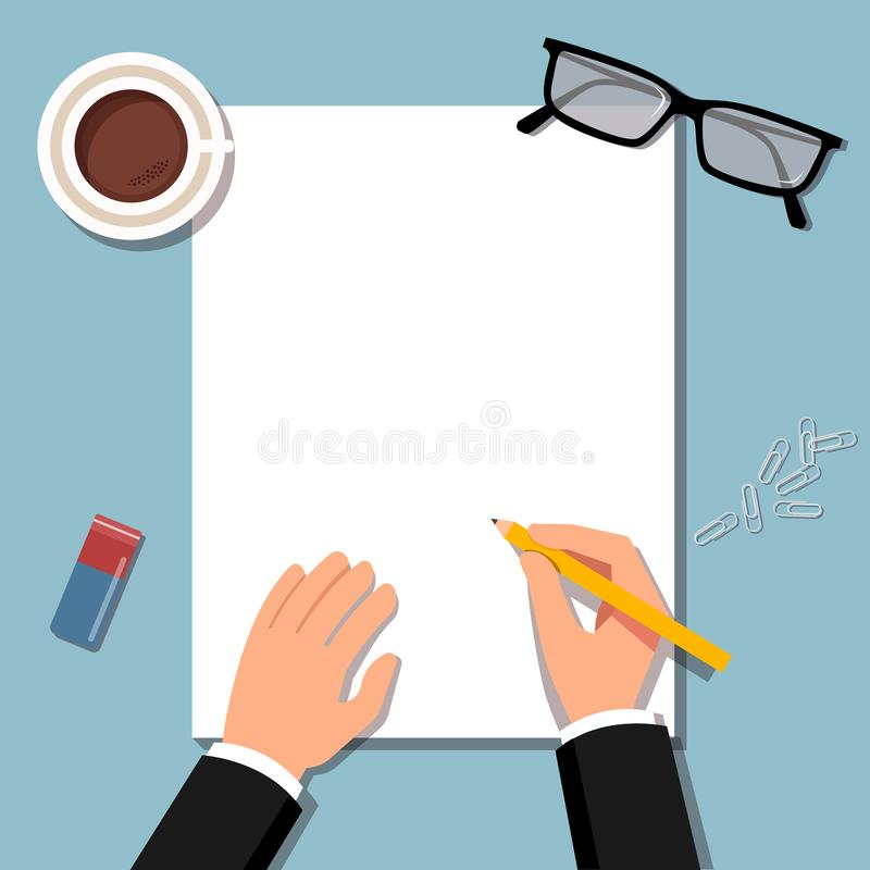 Empty blank. Pen in hand. A blank paper to write.Man hold pencil and writes. Business man holding pencil wth empty paper. royalty free illustration