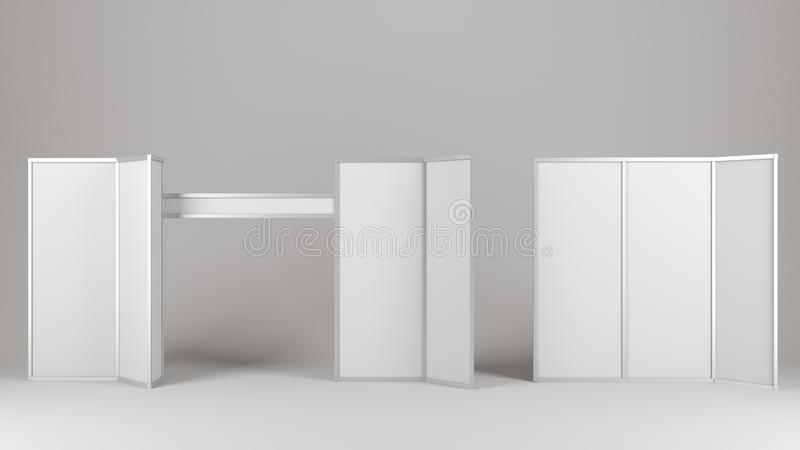 Empty blank stand booth mock-up template. 3D rendering royalty free stock image