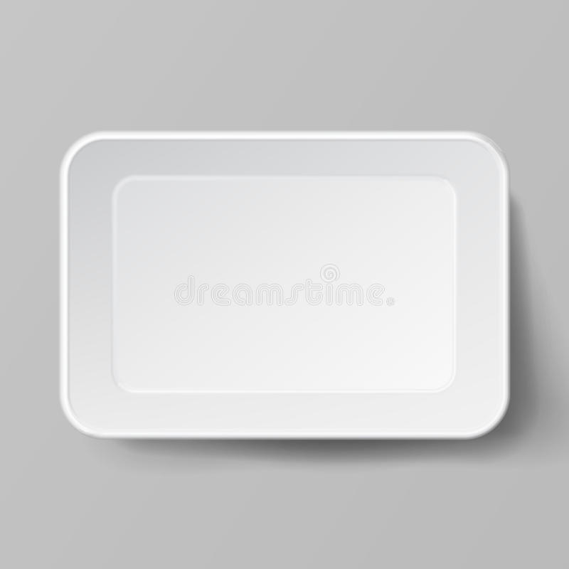 Empty Blank Styrofoam Plastic Food Tray Container. White Empty Mock Up. Good For Package Design. royalty free illustration