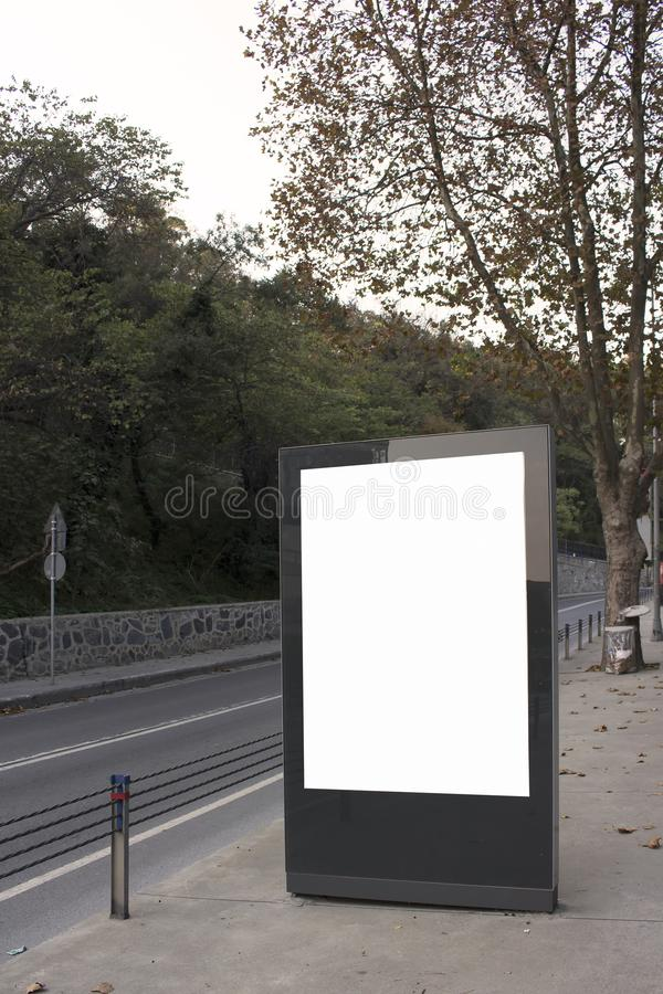 Empty / blank vertical outdoor billboard. Empty / blank vertical outdoor advertising billboard by Bosphorus in Istanbul royalty free stock image
