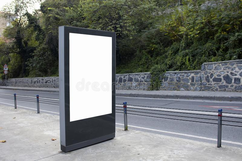 Empty / blank vertical outdoor billboard. Empty / blank vertical outdoor advertising billboard by Bosphorus in Istanbul stock photos