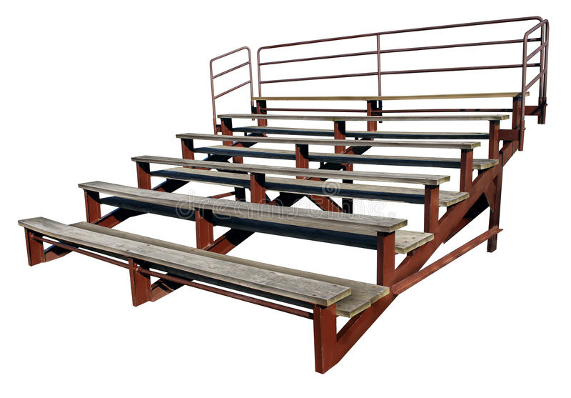 Empty Bleachers. Or stands isolated on a white background as a symbol of school sports and fan support for small town sporting events stock images