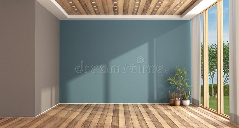 Empty blue and brown living room stock illustration