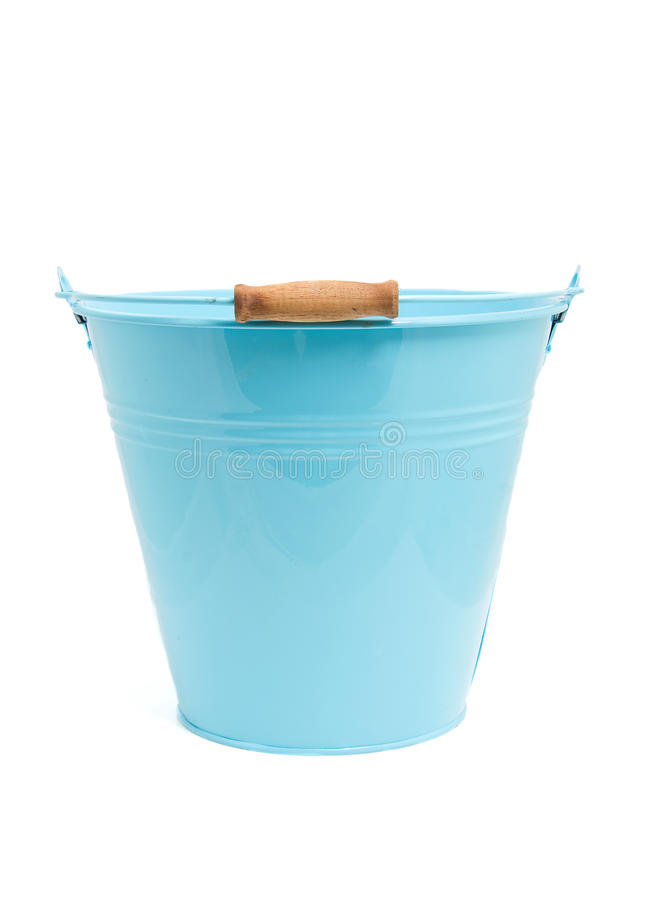 Empty blue bucket stock image