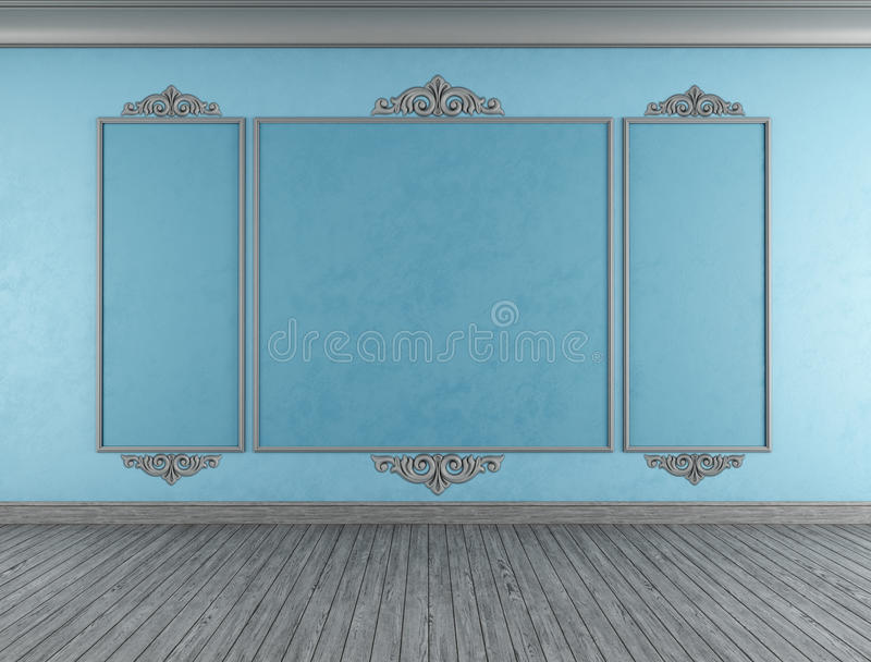 Download Empty blue classic room stock illustration. Image of stucco - 32075054