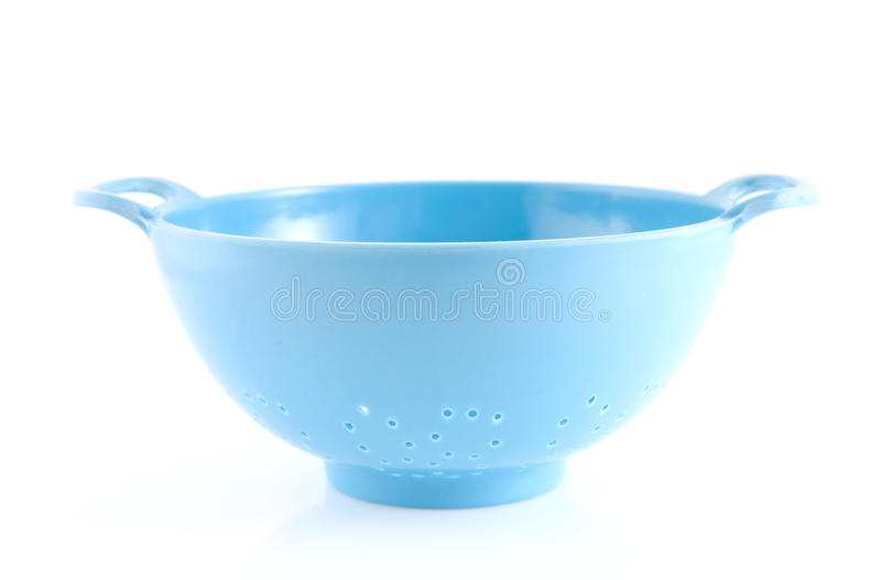 Empty blue colander royalty free stock photo