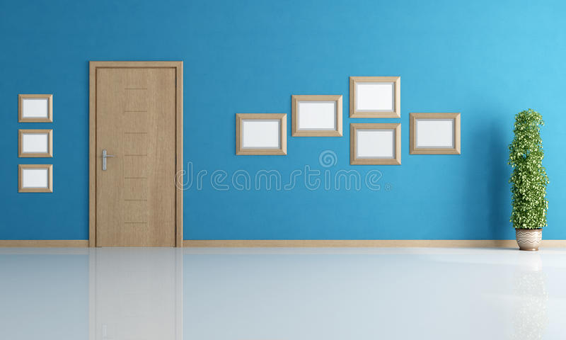 Empty blue interior with door stock illustration