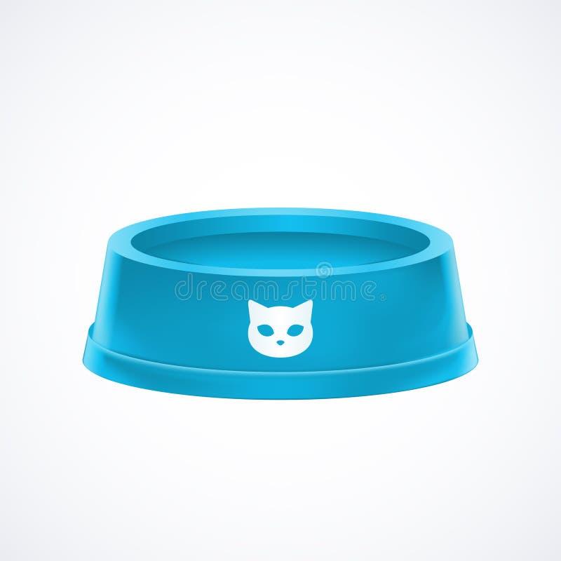 Empty blue pet cat food bowl dish isolated on white background. Stock graphic illustration stock illustration