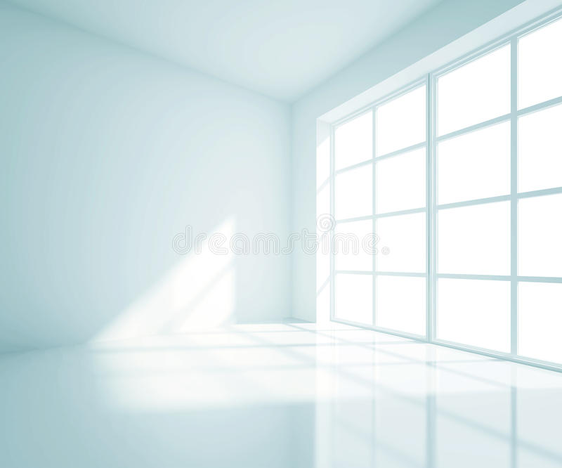 Empty blue room. With white window