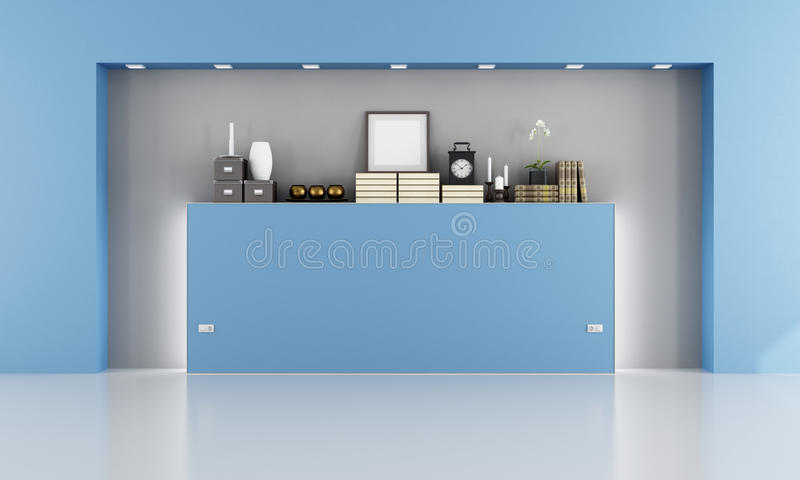 Empty blue room with niche royalty free illustration