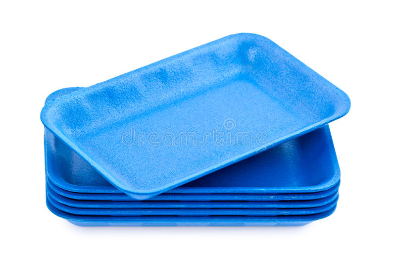 Empty blue styrofoam trays stock images