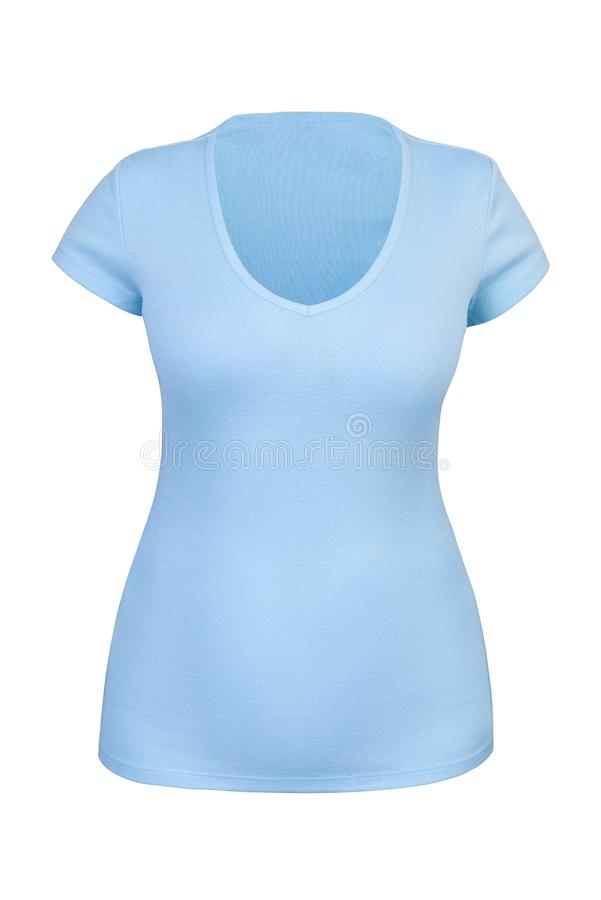 Empty blue V neck T-shirt for woman isolated. Empty blue V neck T-shirt for woman with invisible or ghost mannequin technique. Isolated. Can be used as mock-up royalty free stock photography