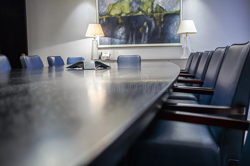 Boardroom Table. Abstract angle shot of an empty boardroom table stock photos