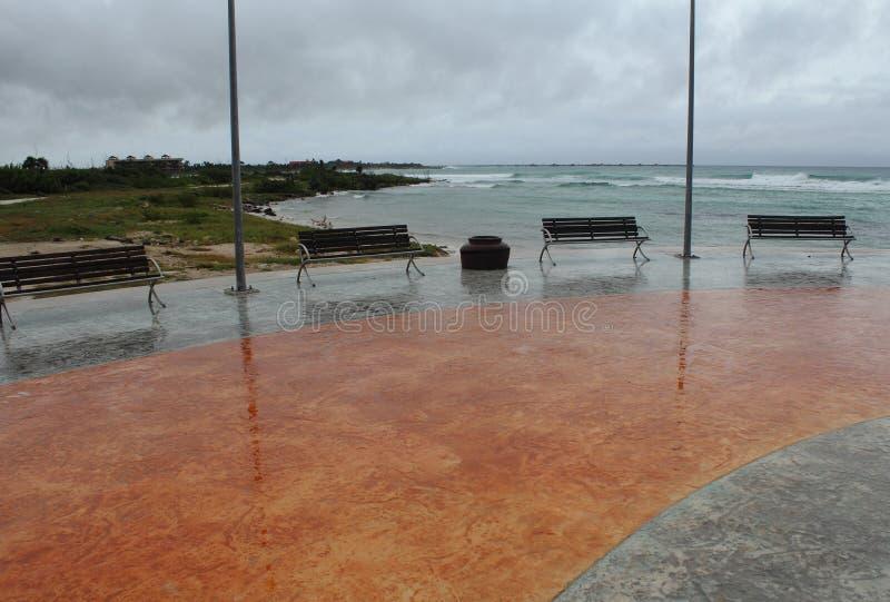 Empty boardwalk in Mahahual Hurricane Ernesto stock photos