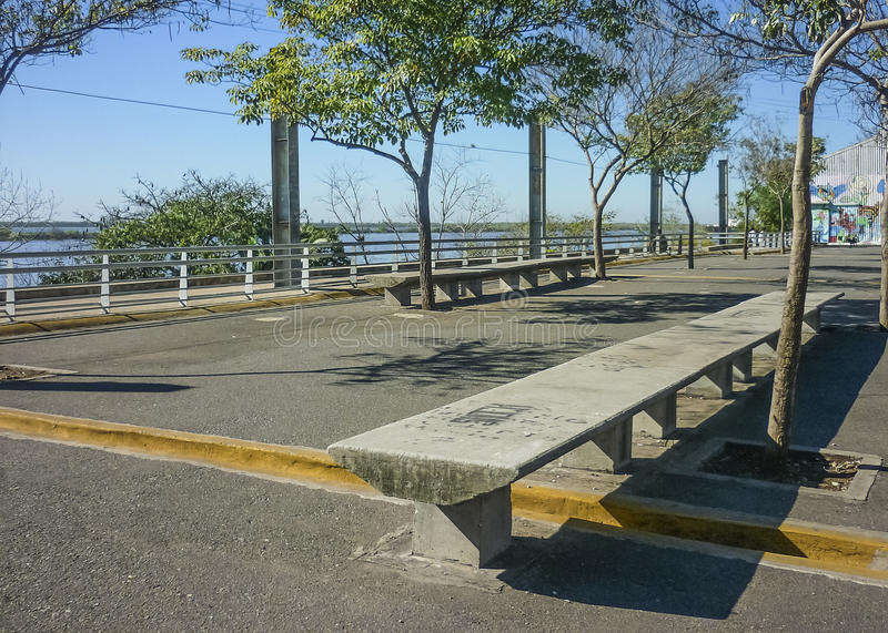 Empty Boardwalk in Rosario, Argentina. Perspective view of empty boardwalk in the city of Rosario in Argentina royalty free stock photo