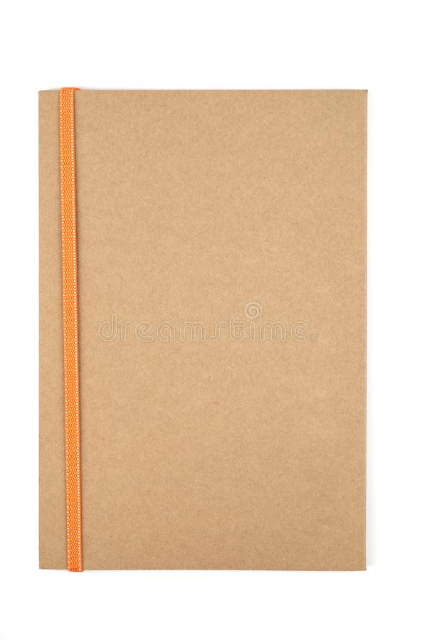 Empty book of brown on white isolated background. Studio shot stock photography