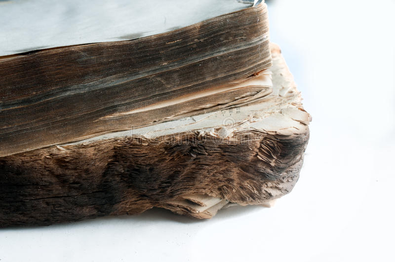 Empty book pages with burnt edge royalty free stock photos