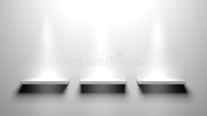 Empty book shelves. 3d Empty book shelves for exhibit vector illustration