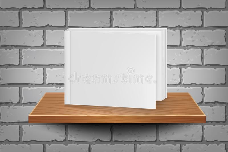 Empty book template on wooden shelf on a brick wall background. Book mockup royalty free illustration