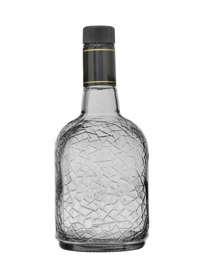 Empty bottle for alcoholic beverages from glass with a pattern. On a white background.  stock photography