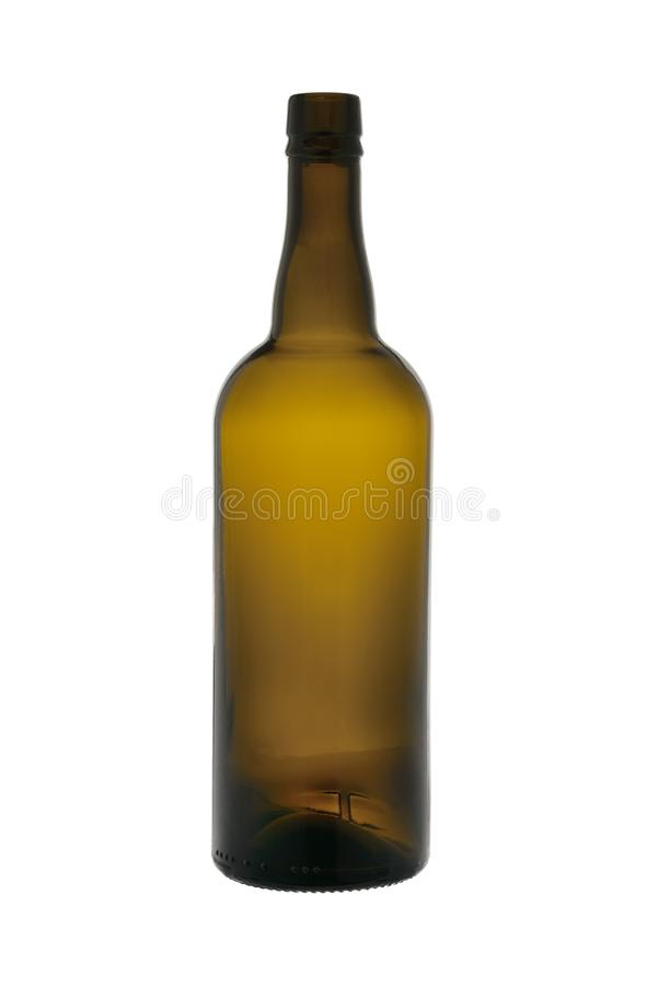 The empty bottle from dark glass isolated on a white background royalty free stock image