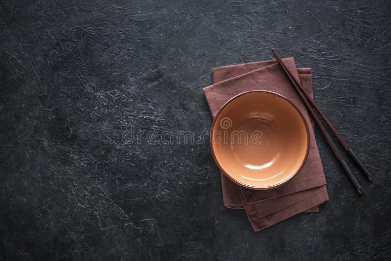 Empty bowl and Chopsticks stock photo