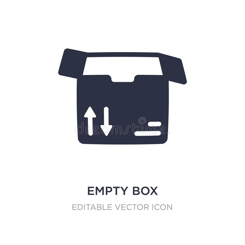 Empty box icon on white background. Simple element illustration from Business concept. Empty box icon symbol design royalty free illustration