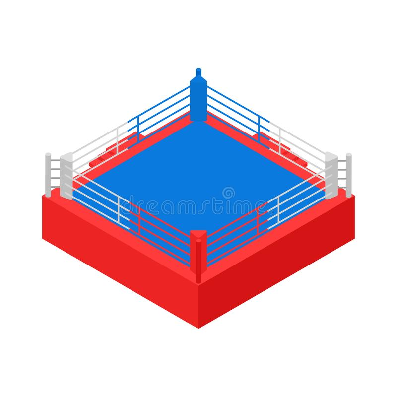 Empty Boxing Ring for Fight Sport Competition Concept 3d Isometric View. Vector stock illustration