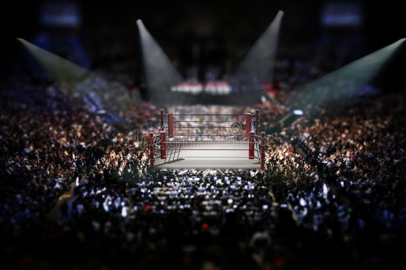 Empty boxing ring surrounded with spectators. 3D illustration stock illustration