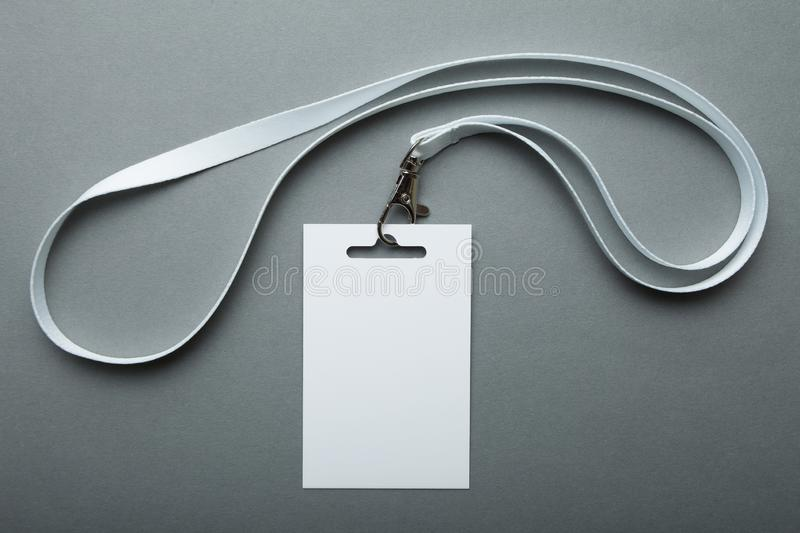 Empty branding elements name tag mock up, on gray background royalty free stock photography