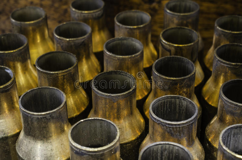 Empty Brass. A bunch of empty brass casings from high power rifle rounds stock images