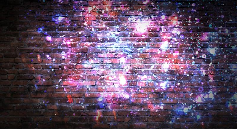 Empty brick wall background, night view, neon light, rays. Celebratory background royalty free stock photo
