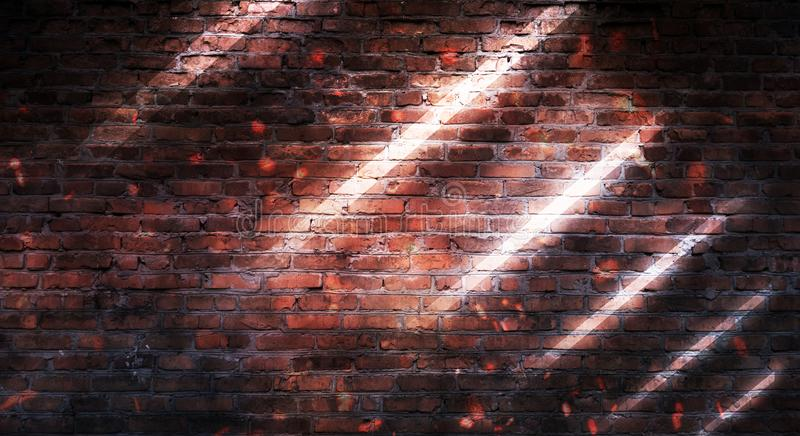 Empty brick wall background, night view, neon light, rays. Celebratory background stock photo