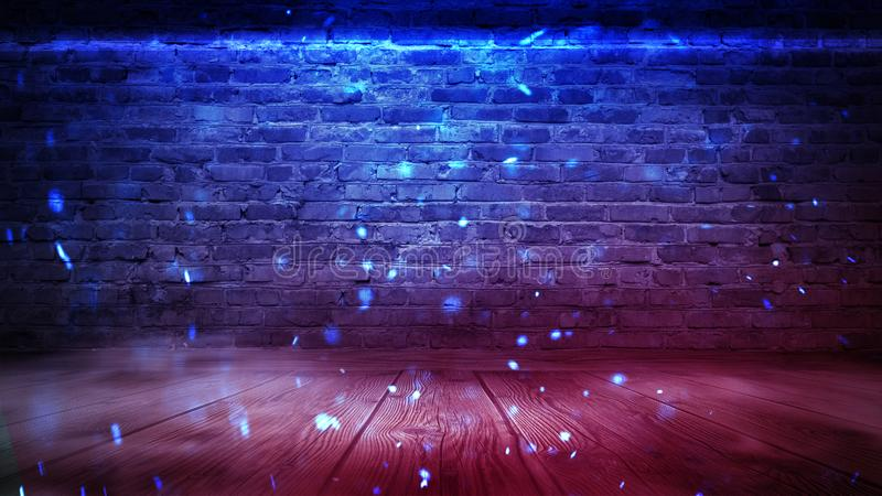 Empty brick wall background, night view, neon light, rays. Celebratory background. smoke. Background of an empty corridor with brick walls and neon light. Brick royalty free stock images