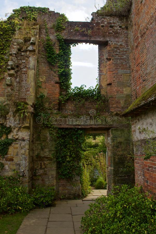 Empty Brick Window and Doorway with Ivy royalty free stock photo