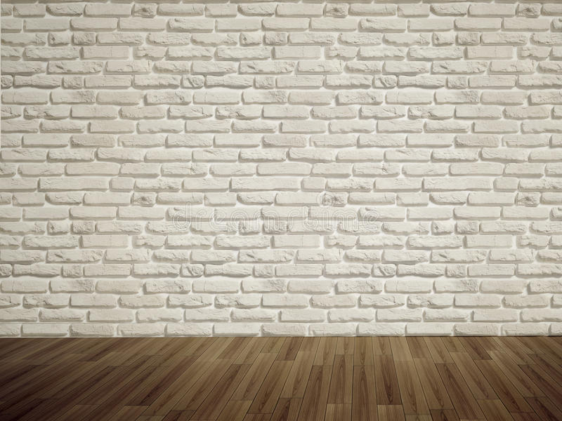 Empty bricks wall. And floor