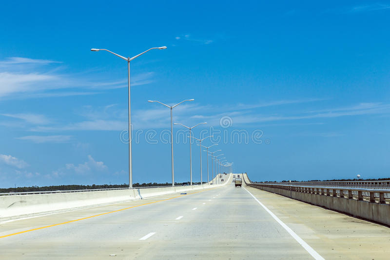 Empty bridge at Bay St. Louis royalty free stock images