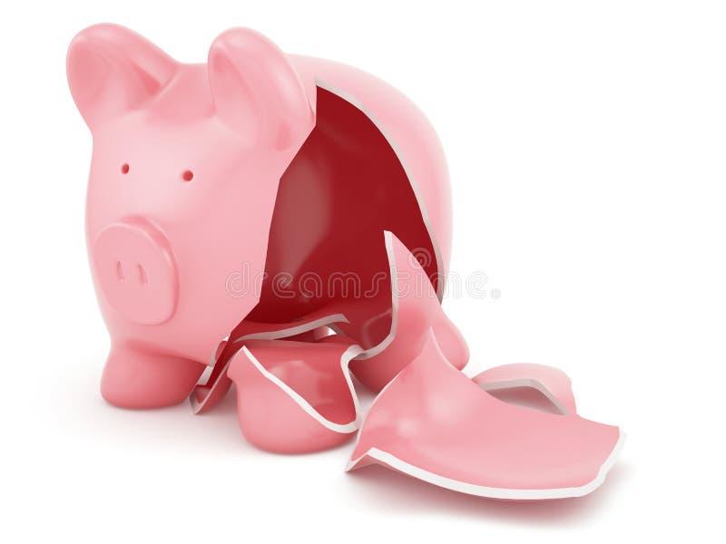 Empty broken piggy bank. 3d render of empty broken piggy bank