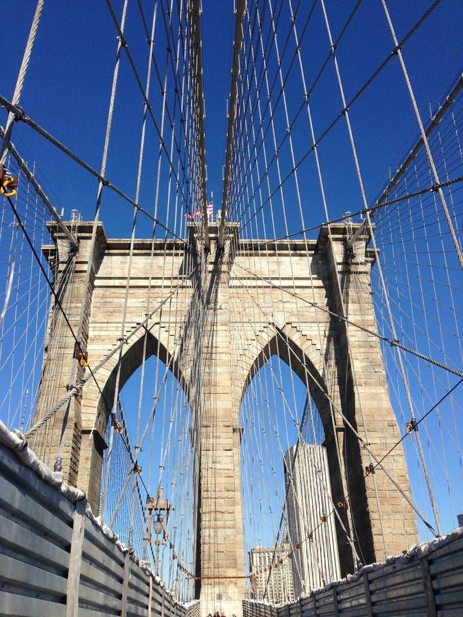 Empty Brooklyn Bridge, New York stock photo