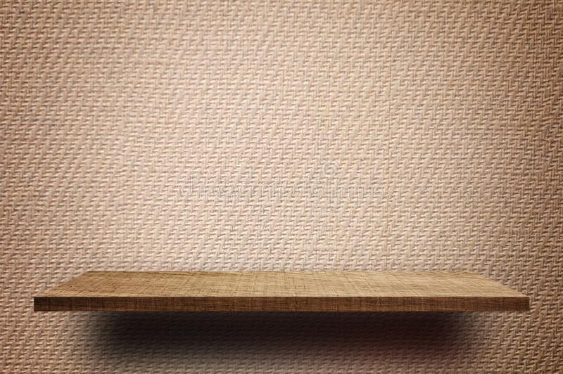 Empty Brown display wooden shelf counter brown paper texture royalty free stock photos