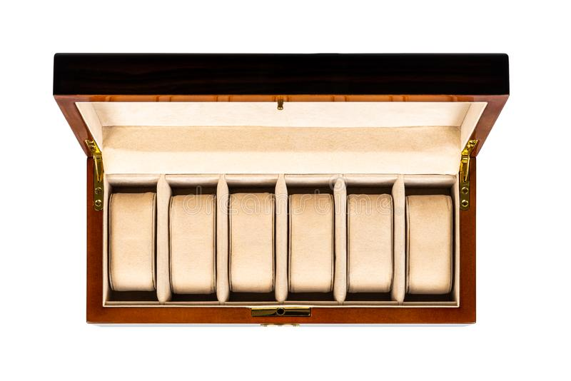 Empty brown wooden luxury jewelry watch case box with open lid and padded inside on white background. Top view from above. Horizontal composition studio shot stock image