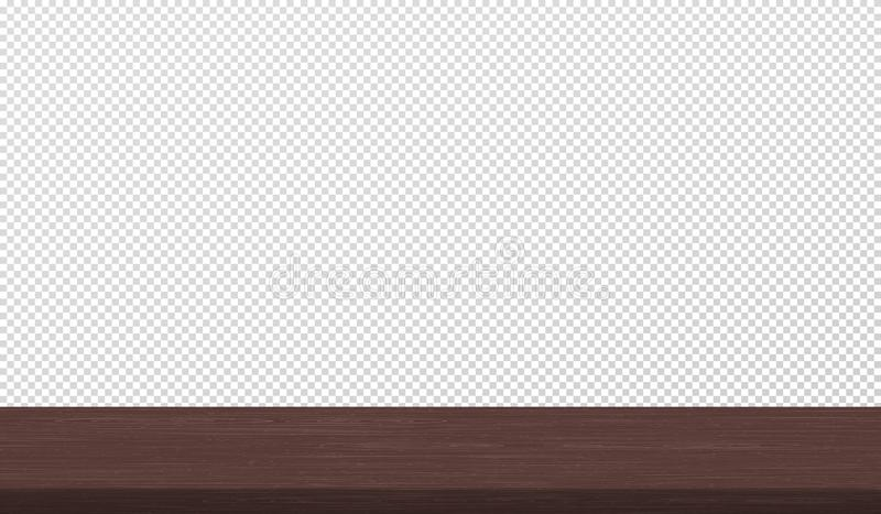 Empty brown wooden table surfece next to white squared wall. Vector illustration vector illustration