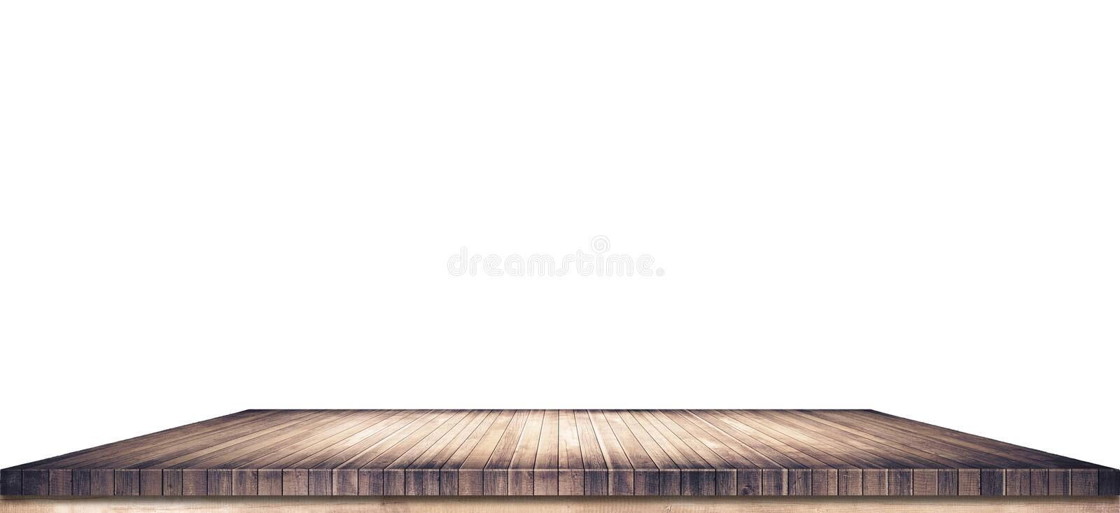 Empty brown wooden table top on white background royalty free stock photography