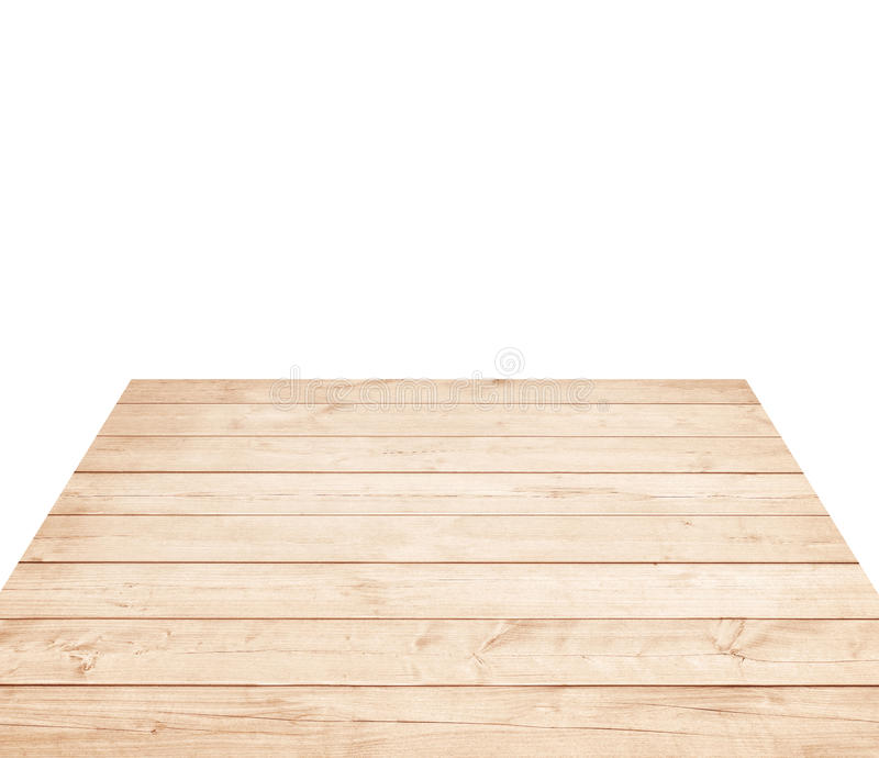 Empty brown wooden tabletop, horizontal planks on white background royalty free stock photos